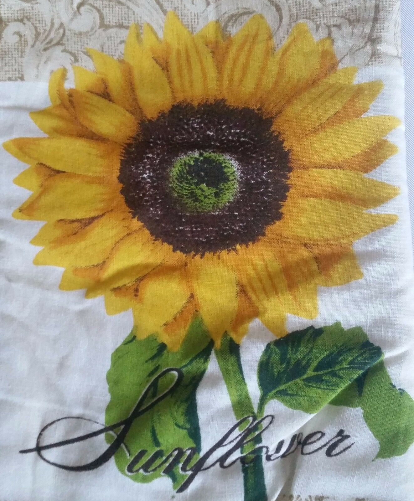 """Printed Kitchen 13"""" Large Oven Mitt, SUNFLOWER, brown back by BH"""