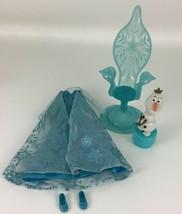 Disney Princess Frozen Lot Replacement Elsas Blue Dress Chair Olaf Figur... - $17.77