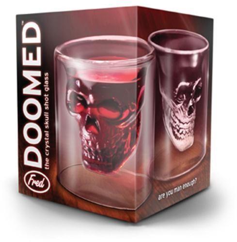Skull Head Shot Glass Fred Fun Creative Designer Doomed Crystal Party Doom 2 oz.