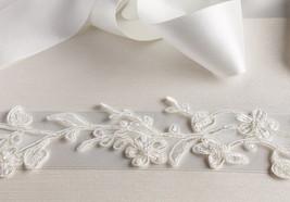 Ivory Alencon Lace Wedding Sash, Bridal Belt Sash, Ivory LaceGown Sash - $69.00