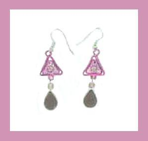 "Purple Glass Bead & Sterling Silver 2"" Chandelier Earrings"