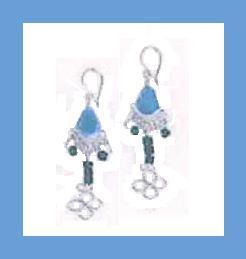 Glass bead earrings   blue