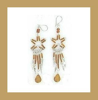 "Brown Glass Bead & Sterling Silver 3.5"" Chandelier Earrings"