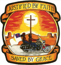 JUSTIFIED BY FAITH SAVED BY GRACE MOTORCYCLE BI... - $6.86