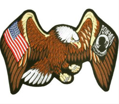 PATRIOTIC PATCH EAGLE WINGS SPREAD USA FLAG POW... - $19.60