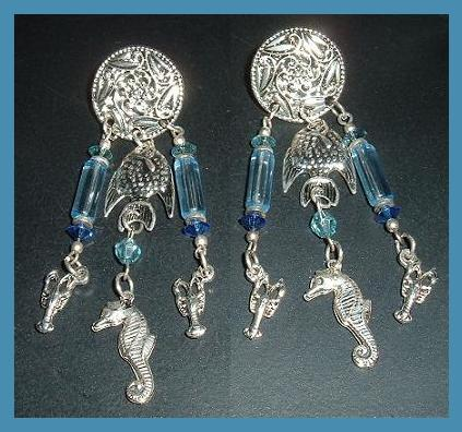1 ss blue bead fish   seahorse earrings