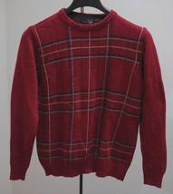 Oscar de la Renta Sz M Sweater Burgundy Red Plaid Crewneck Pullover Mens Medium - $19.39