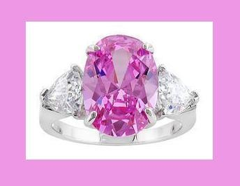 Primary image for Pink Oval & White Trillion CZ & Sterling Silver Ring