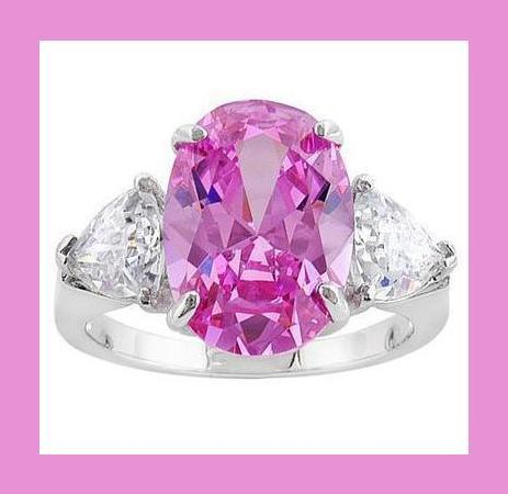 Pink Oval & White Trillion CZ & Sterling Silver Ring