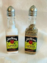 Jim Beam Apple Whiskey Miniature Bottle Salt & Pepper Shakers w/ Crown Tops - $7.95