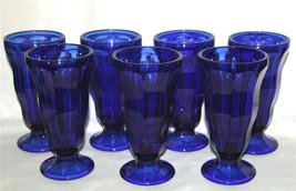 6 Anchor Hocking Cobalt Blue Sundae Parfait Soda Pedestal Glasses Dish Unused - $59.99
