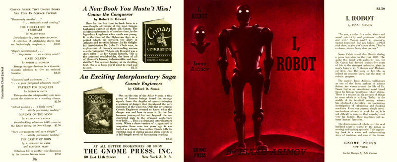 Asimov I, ROBOT facsimile dust jacket for the first edition book