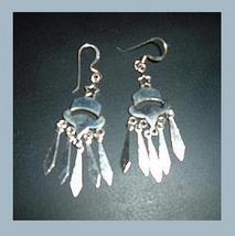 Sterling Silver Star Bell Icicle Chandelier Fishook Earrings - $24.99