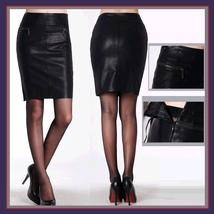 Black Faux Patent Leather Zippered Pockets Medium Length Larger Pencil Skirt