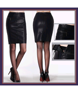 Black Faux Patent Leather Zippered Pockets Medium Length Larger Pencil S... - $89.95