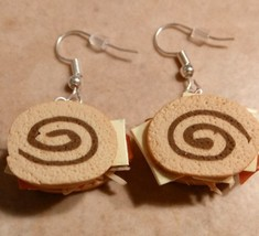 Unique Reuben Sandwich Charm Earrings Silver Wire Clay Sandwich Beef Lun... - $6.00