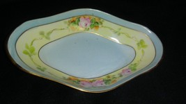 Vintage Hand Painted Blue with Pink Roses China Oval Relish Bowl  - $19.99
