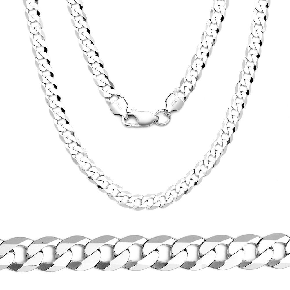 4.5mm Solid 925 Sterling Silver Cuban Curb Link Italy Italian Men Chain Necklace