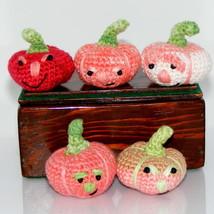 """5 Pumpkins, Crochet, Handmade, Fall, Halloween, Windy, Dark, 2"""" x 1.5"""", ... - $16.78"""