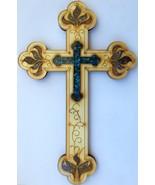Wood Christian Cross with leafs motifs and Gemstones - Hand Crafted in I... - £18.26 GBP