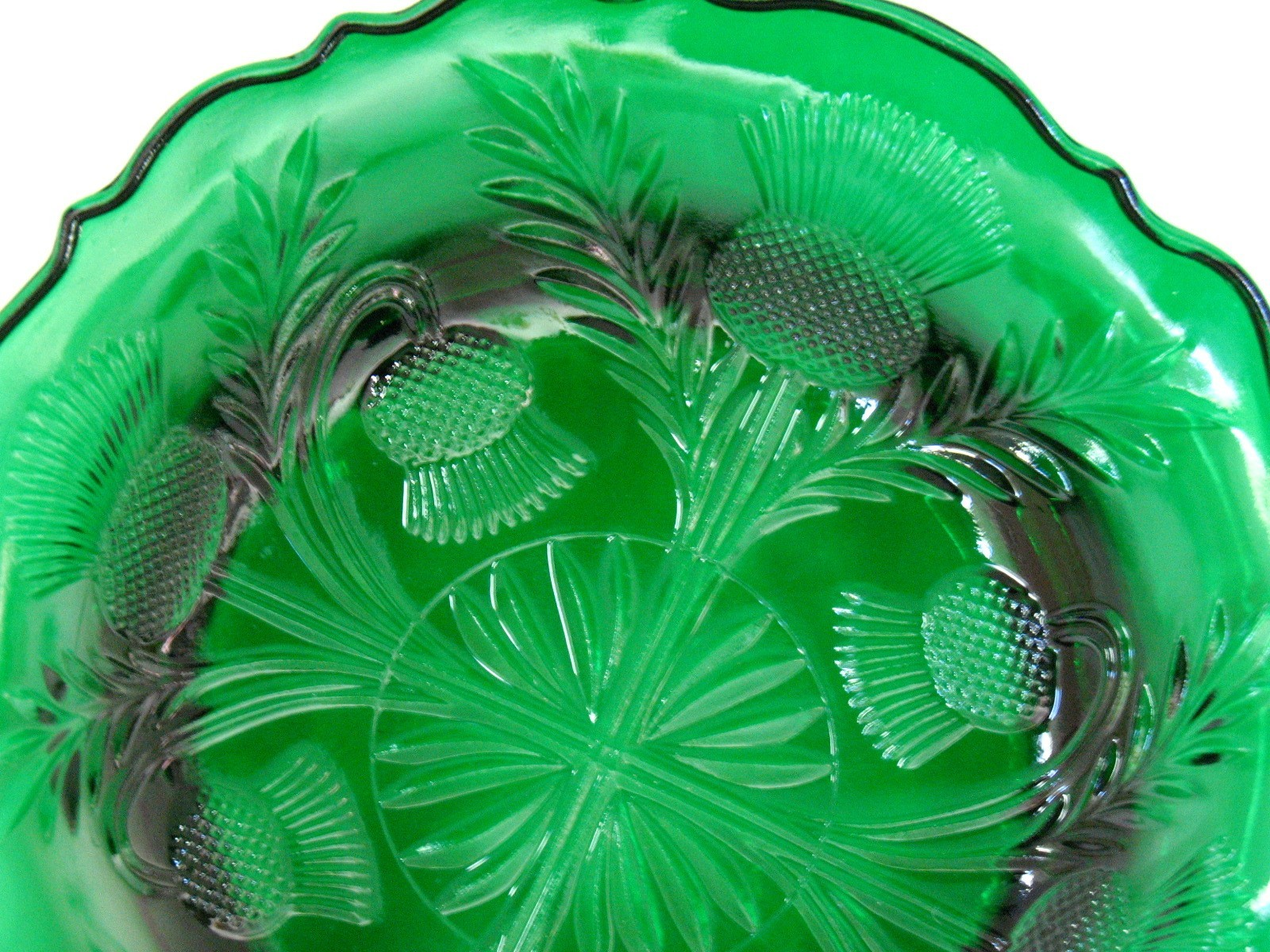 Hunter Green Inverted Thistle Candy Candle Dish Home Decor  image 6