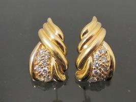 Vintage Modernist 14K Solid Gold .48Ct Genuine Diamond Sea Shell Stud Ea... - $515.00
