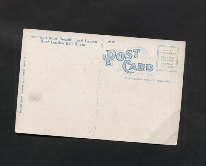 Vintage Postcard Arcadia Garden Ball Room Providence RI Linen Rhode Island