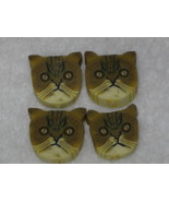 4 - Cat Face Polymer Clay Beads (13mm x 13mm) - $1.00