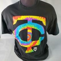 Minnesota Twins Tie Dye Logo MLB Genuine Merchandise T Shirt XXL Black - $23.38