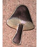 gold-tone Enamel Mushroom Pin brooch Vintage - $13.00