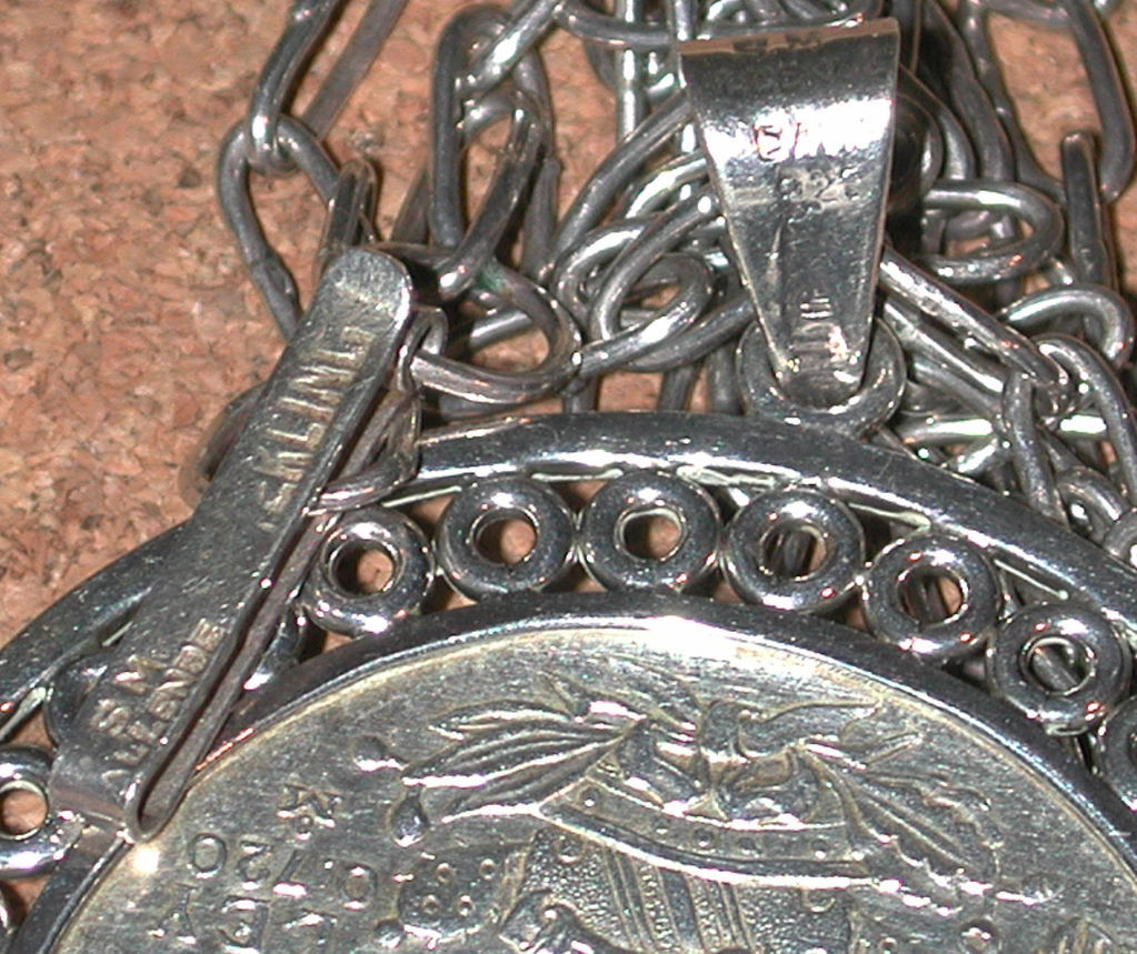 Sterling Necklace/Pendant Mexico Olympic 1968 vintage coin