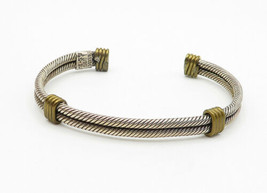 MEXICO 925 Sterling Silver - Vintage 2 Tone Wrapped Twist Cuff Bracelet - B6214 image 2