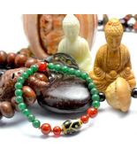 Feng Shui Tibetan Longevity Turtle Dzi Eyes Bead Bracelet, 6 Mm Green Jade Beads - $37.99