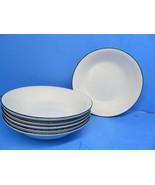 "Crate And Barrel Clasique Black Line White 6 3/4"" Cereal Bowls Set Of 4 ... - $97.02"