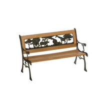 Childrens Bench Outdoor Park Seat Jungle Furniture Patio Cast Iron Wood ... - $123.37