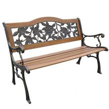 Park Bench Patio Outdoor Garden Iron Legs Bronze Yard Seat Wood Backyard... - $158.35
