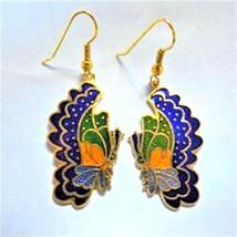 Vintage 1980's Cloisonne Enamel Side Facing Butterfly Goldtone Earrings (1 pair) - $3.91