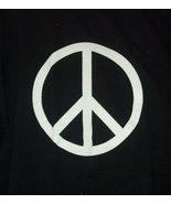 Sixties Retro PEACE SYMBOL T-Shirt white on black - $9.99
