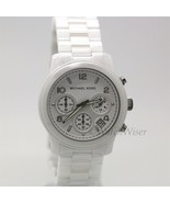 MK5161 Michael Kors Runway Women Watch White Black Ceramic Chronograph Date - $220.50