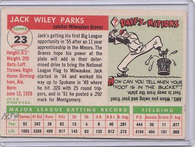 1955 Topps 23 Jack Parks Not Graded 02
