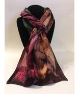 Hand Painted Silk Scarf Fern Green Wine Plum Brown Women's Rectangle Best Gift - $56.00
