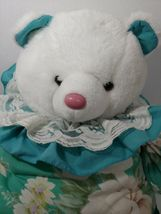 Enesco Plush white teddy bear green floral flowers outfit lace collar pink nose image 3