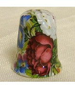 Vintage FLORAL Porcelain THIMBLE ~ Made in BRITAIN - $12.95