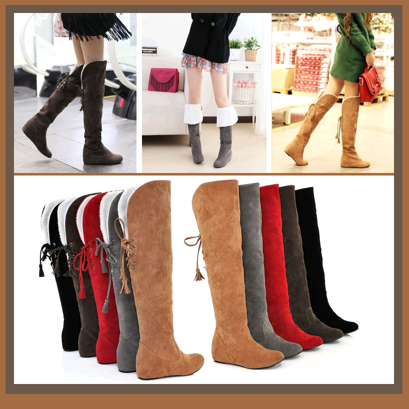 Suede Over The Knee Flat Sole Leather Boots w/ Lace Up Tassel and Fleece Lining