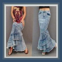 Retro Love Child Long Faded Denim Jeans Open Fly Mermaid Skirt w/ frayed edges