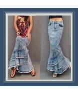 Retro Love Child Long Faded Denim Jeans Open Fl... - $58.95