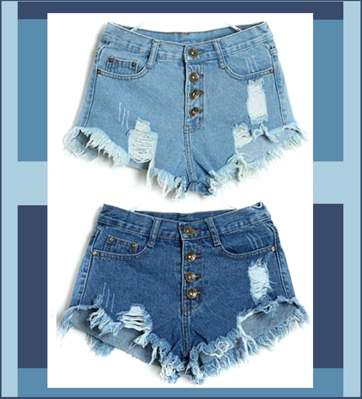 Vintage Button Fly High Waist Fadded Ripped Denim Short Shorts Casual Jean Pants