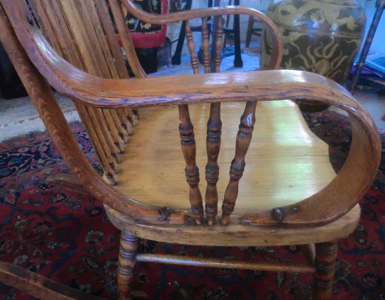 Antique Oak Bentwood Rocker Rocking Chair And Similar Items - Antique bentwood rocker rocking chair