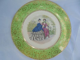 Imperial Salem China Service Plate 23KT Gold Green Victorian Ladies With... - $14.86