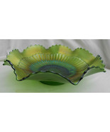 "Carnival Glass Northwood GREEN RAYS Candy Ruffled Bowl Iridescent 8 1/2""... - $49.49"